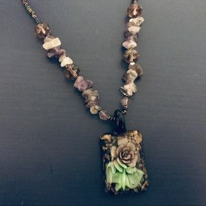 Purple/Green Beaded Floral Pendant Necklace